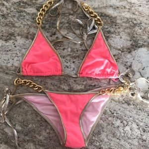 6f0f7b91d6dda Coral bikini with chain connectors